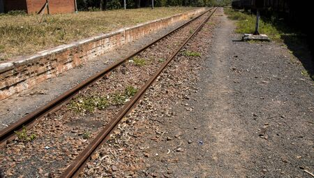Rusty railway line on no longer used siding