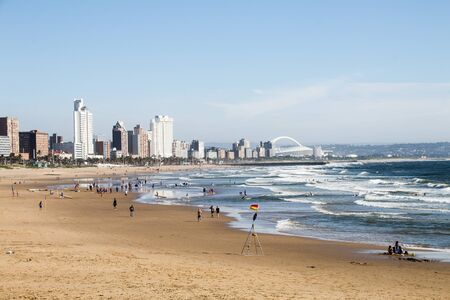 View of durban's golden mile of hotels from ushaka beach Foto de archivo