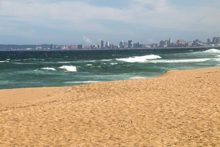 View of durban's golden mile of hotels from umhlanga beach