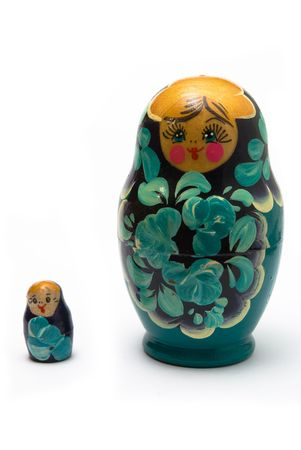 russian babushka nesting dolls (matreshka) line isolated photo