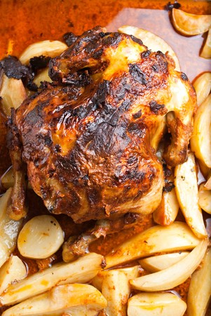 homemade roasted chicken with potatoes photo