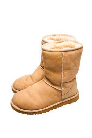 Womens Sheepskin boots isolated on white photo