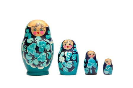 russian nesting dolls: russian nesting dolls (babushka) in a straight line
