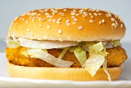 crisp chicken burger with onion cheese lettuce photo