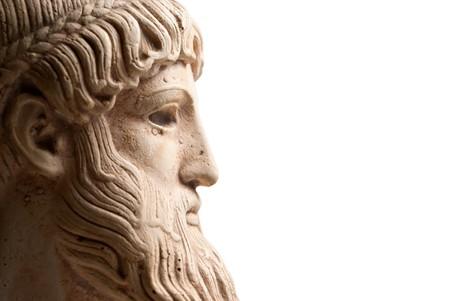 grec antique: Ancien dieu grec Poseidon - Dieu de la mer, les chevaux et les tremblements de terre. Beaucoup de place pour copie vers la droite.