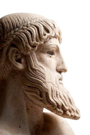 Ancient Greek god Poseidon - god of the sea, horses, and earthquakes. Plenty of room for copy to the right. photo