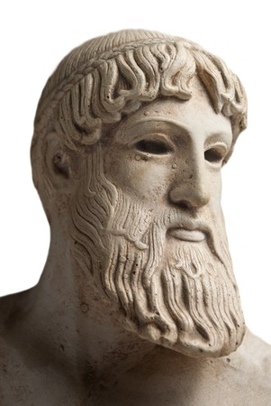 greek gods: Ancient Greek god Poseidon - god of the sea, horses, and earthquakes. Stock Photo