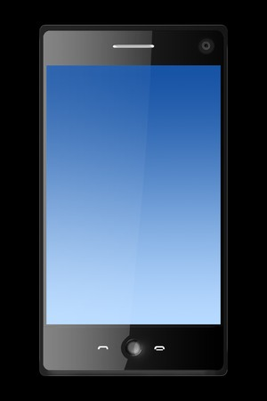 three dimensional mobile phone isolated on black photo