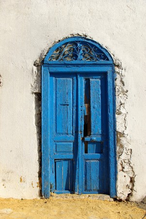 blue door in a tunisian town sidi bou said photo