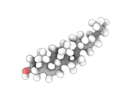 Molecular structure of Cholesterol on white photo