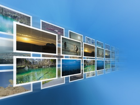 Digital images on the virtual screen - all pictures coming from my gallery Stock Photo - 7971547