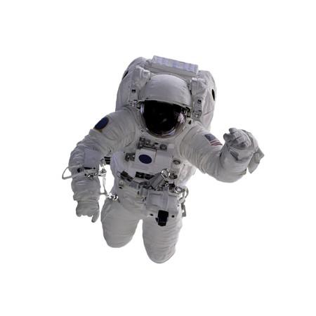 cohetes: Astronauta volando sobre un fondo blanco