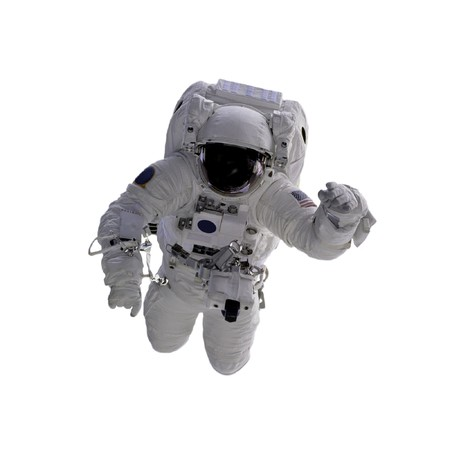 Flying astronaut on a white background photo