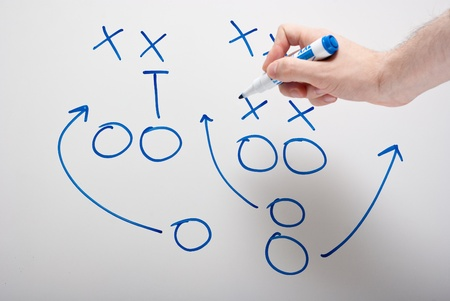 game plan on whiteboard with hand pointing Stock Photo