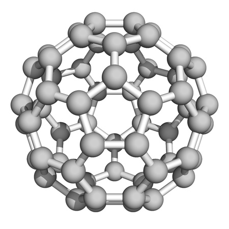 superconductor: Computer rendering of Buckminsterfullerene, a prototype of carbon-based nanotubes. Stock Photo