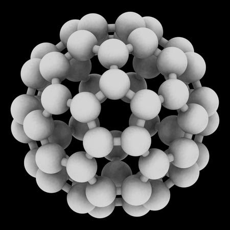 nanotubes: Computer rendering of Buckminsterfullerene, a prototype of carbon-based nanotubes. Stock Photo