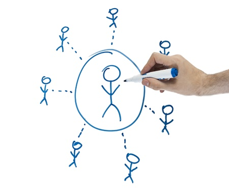 depicting: Whiteboard with business diagram depicting community Stock Photo