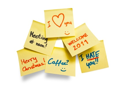 collection of adhesive notes with various messages on a whiteboard Stock Photo - 8361557