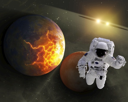 High quality isolated composite astronaut in space of real  NASA images Stock Photo - 9397356