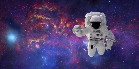 High quality isolated composite astronaut in space of real  NASA images photo