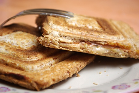 sandwitch: toast sandwitch on plate in shallow dof Stock Photo
