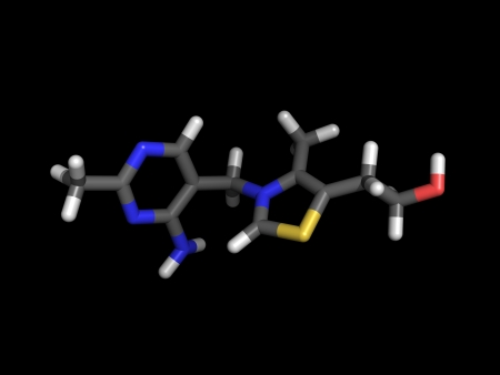 Stick representation of vitamin b1 with grey carbon atoms and colored heteroatoms Stock Photo - 13903787