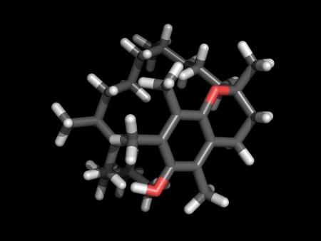 Stick representation of a vitamin E molecule on black Stock Photo - 13903794