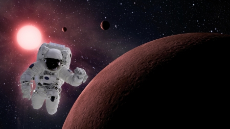 copy space: High quality isolated composite astronaut in space
