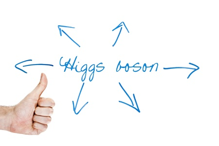 discovery of the higgs boson (god particle) and its implication represented by arrows photo