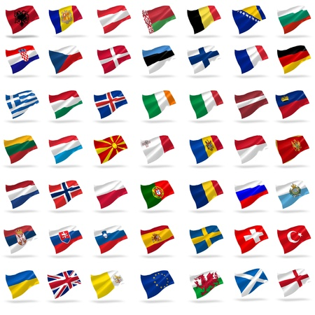 all european flags: all european flags set icons with shadows on white Stock Photo