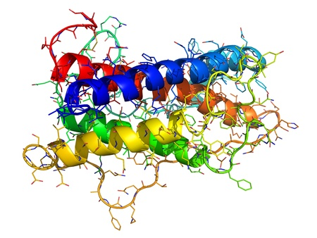 proteomics: Chemical structure of human growth hormone (HGH), a natural hormone that is used both as a drug and as a doping agent.