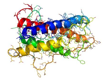 Estructura química de la hormona de crecimiento humana (HGH), una hormona natural que se utiliza como un medicamento y como un agente dopante.