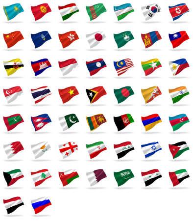 drapeau inde: tous les drapeaux asiatiques d�finir des ic�nes avec des ombres sur fond blanc