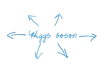 higgs boson with arrows on whiteboard photo