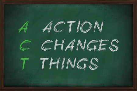 Action Changes Things with white chalk on blackboard. photo