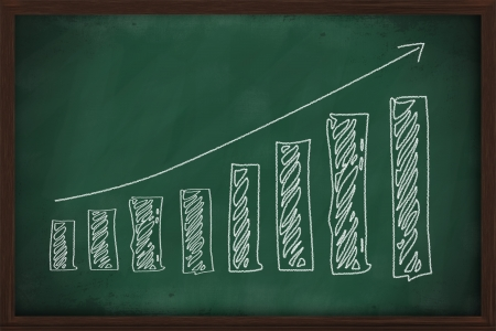 finance business graph on chalkboard economy concept photo