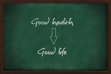good life: Good health leads to good life written on chalkboard