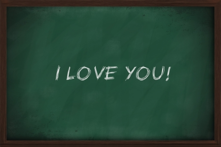 I love you written on green chalkboard photo