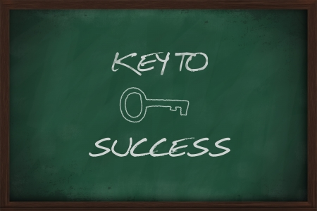Key to success written on a blackboard photo
