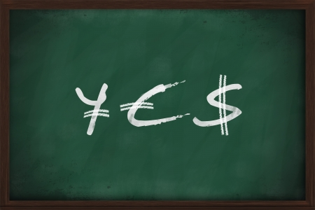 YES - Yen, Euro and Dollar signs written on chalkboard photo