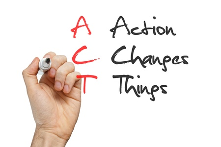 action plan: Action Changes Things written by hand on whiteboard Stock Photo