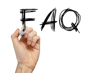 FAQ frequently asked questions written on whiteboard photo