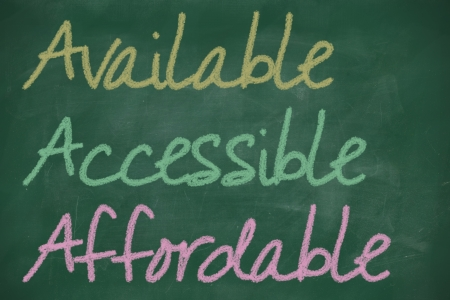affordable: AAA for available, accessible and affordable written on chalkboard Stock Photo