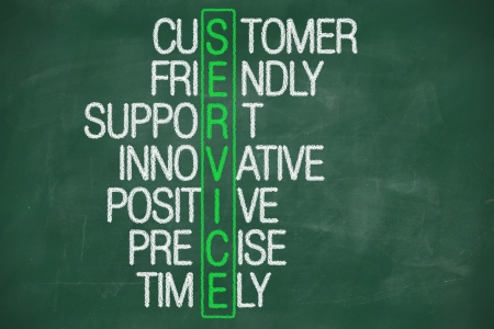 customer service concept on blackboard - customer friendly support photo