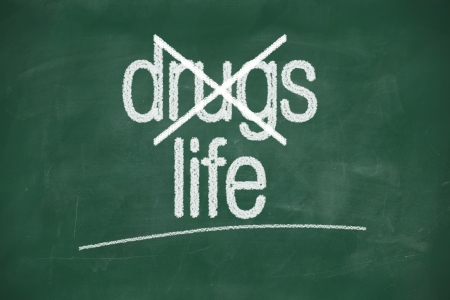 say no to drugs,choice life- message on green chalkboard photo