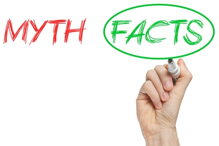 opposition: Myths and Facts opposition written on whiteboard Stock Photo