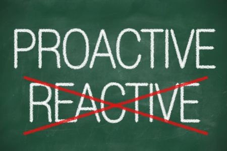 reactive: Proactive and Reactive handwritten with white chalk on a blackboard Stock Photo