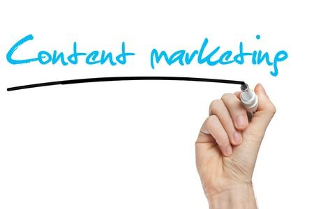 Network marketing: Escritura de la mano Content Marketing con marcador azul a bordo limpie transparente Foto de archivo