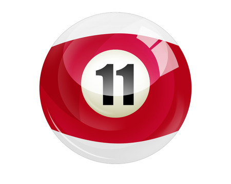 Billiard ball number 11 isolated on white photo