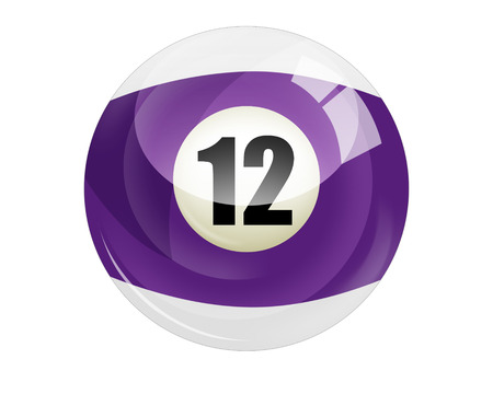 Billiard ball number 12 isolated on white photo